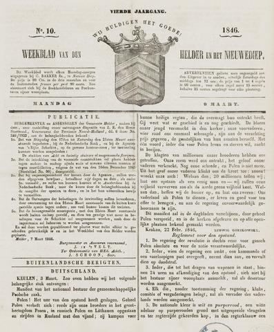 Weekblad van Den Helder en het Nieuwediep 1846-03-09