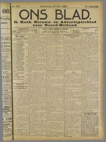 Ons Blad : katholiek nieuwsblad voor N-H 1913-11-27