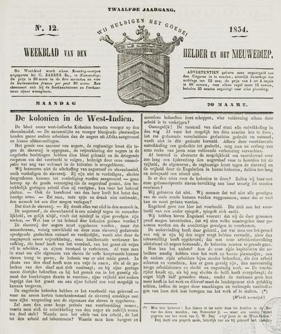 Weekblad van Den Helder en het Nieuwediep 1854-03-20