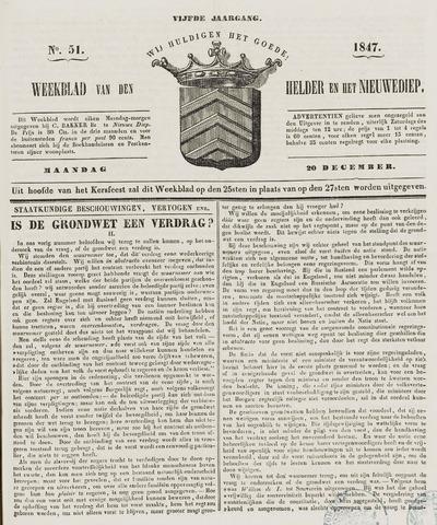 Weekblad van Den Helder en het Nieuwediep 1847-12-20