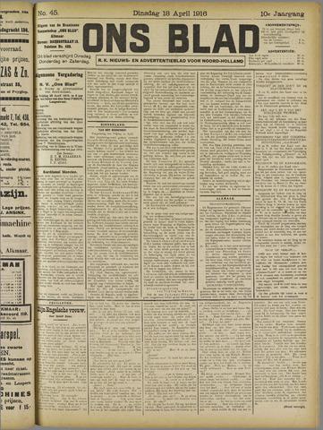 Ons Blad : katholiek nieuwsblad voor N-H 1916-04-18