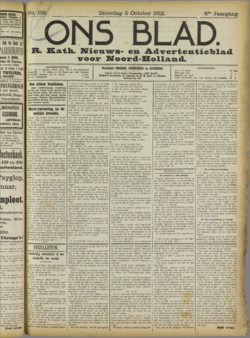Ons Blad : katholiek nieuwsblad voor N-H 1912-10-05
