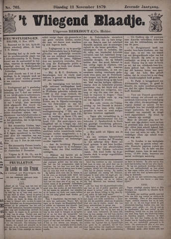 Vliegend blaadje : nieuws- en advertentiebode voor Den Helder 1879-11-11