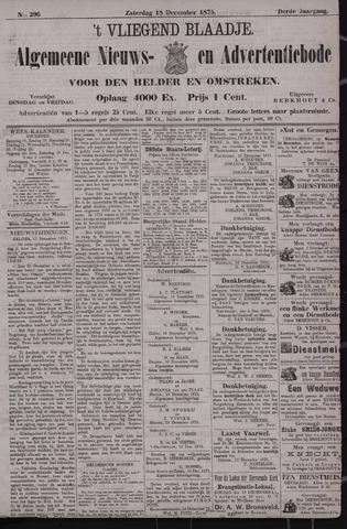 Vliegend blaadje : nieuws- en advertentiebode voor Den Helder 1875-12-18