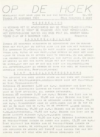 Op De Hoek, weekblad voor Akersloot 1961-11-24