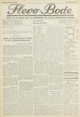 Flevo-bode: nieuwsblad voor Wieringen-Wieringermeer 1949-02-16