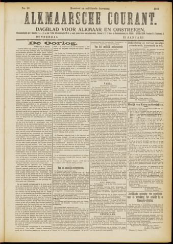 Alkmaarsche Courant 1916-01-13