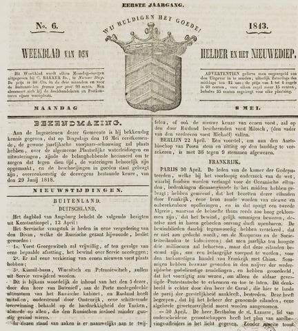 Weekblad van Den Helder en het Nieuwediep 1843-05-08