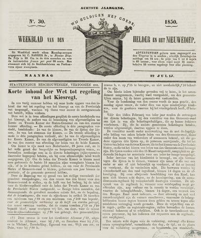 Weekblad van Den Helder en het Nieuwediep 1850-07-22