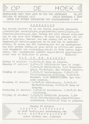 Op De Hoek, weekblad voor Akersloot 1963-10-18