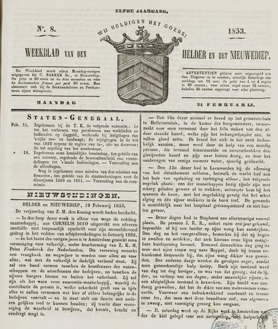 Weekblad van Den Helder en het Nieuwediep 1853-02-21