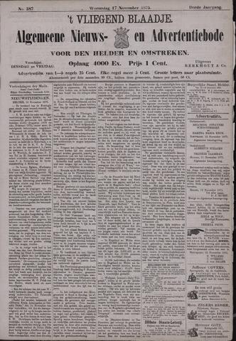 Vliegend blaadje : nieuws- en advertentiebode voor Den Helder 1875-11-17