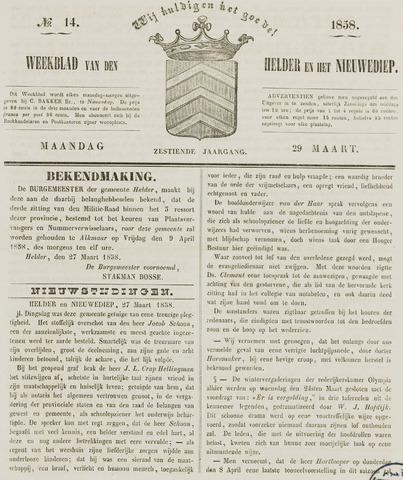 Weekblad van Den Helder en het Nieuwediep 1858-03-29