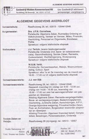Adresboek van Akersloot 1989-01-02