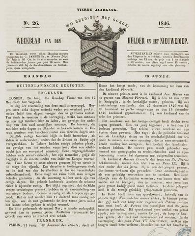 Weekblad van Den Helder en het Nieuwediep 1846-06-29