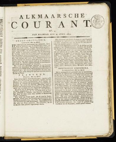 Alkmaarsche Courant 1815-04-24