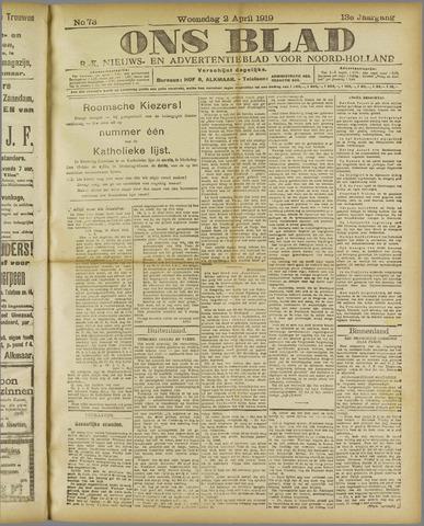 Ons Blad : katholiek nieuwsblad voor N-H 1919-04-02
