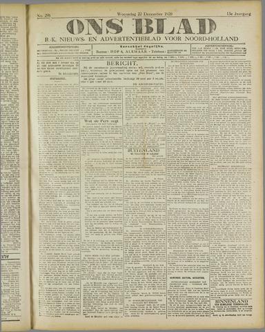 Ons Blad : katholiek nieuwsblad voor N-H 1920-12-22
