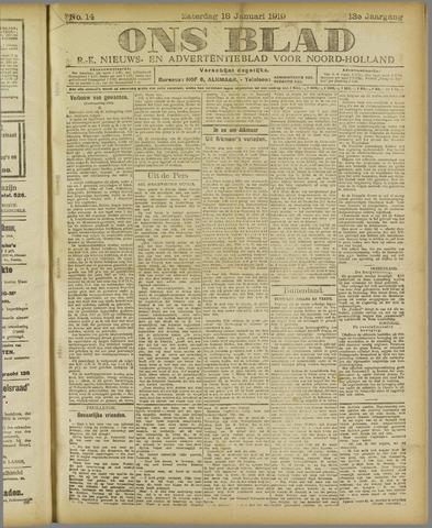 Ons Blad : katholiek nieuwsblad voor N-H 1919-01-18