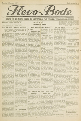 Flevo-bode: nieuwsblad voor Wieringen-Wieringermeer 1947-11-26
