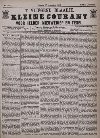 Vliegend blaadje : nieuws- en advertentiebode voor Den Helder 1880-08-17