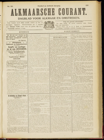 Alkmaarsche Courant 1911-09-19
