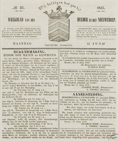 Weekblad van Den Helder en het Nieuwediep 1857-06-15