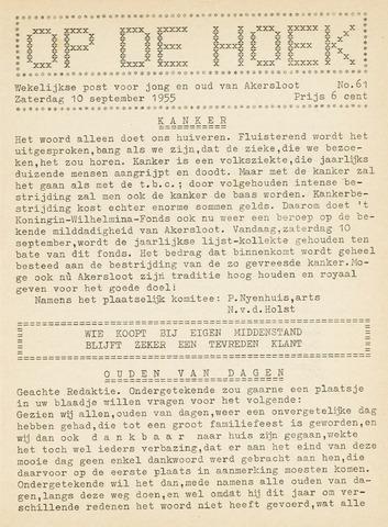 Op De Hoek, weekblad voor Akersloot 1955-09-10