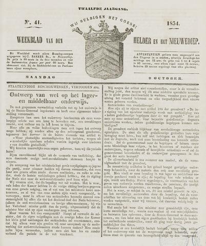 Weekblad van Den Helder en het Nieuwediep 1854-10-09