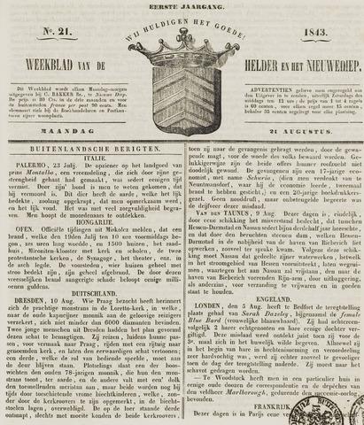 Weekblad van Den Helder en het Nieuwediep 1843-08-21