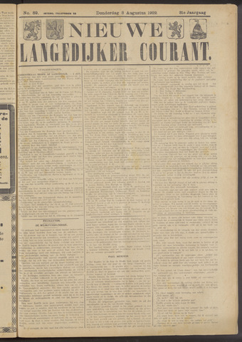 Nieuwe Langedijker Courant 1922-08-03