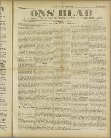 Ons Blad : katholiek nieuwsblad voor N-H 1920-09-04