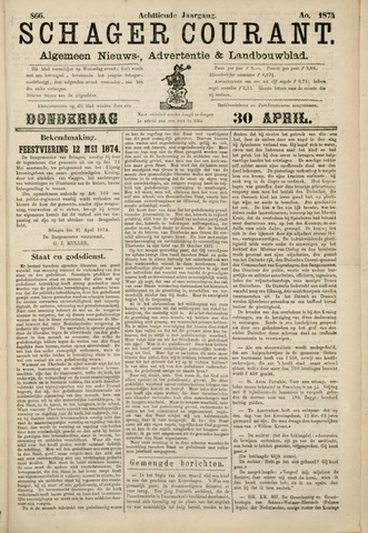 Schager Courant 1874-04-30