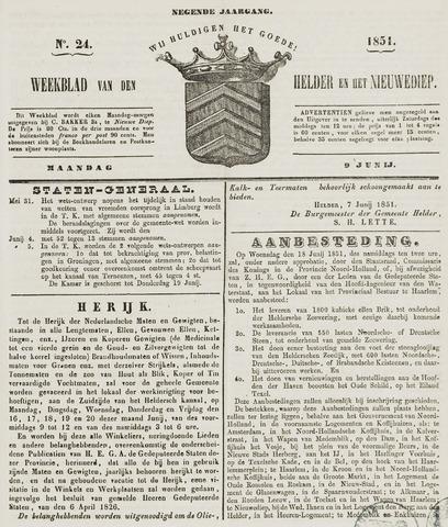 Weekblad van Den Helder en het Nieuwediep 1851-06-09