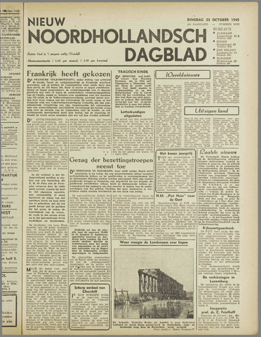 Nieuw Noordhollandsch Dagblad : voor Alkmaar en omgeving 1945-10-23