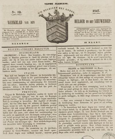 Weekblad van Den Helder en het Nieuwediep 1847-03-22