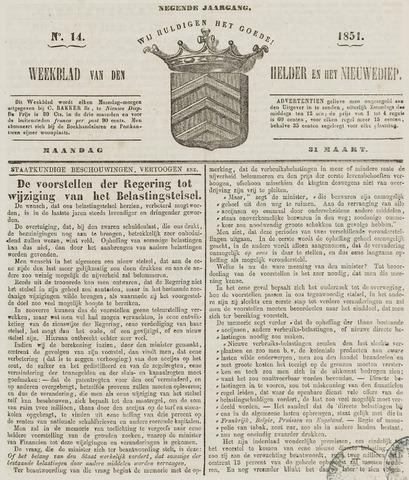 Weekblad van Den Helder en het Nieuwediep 1851-03-31