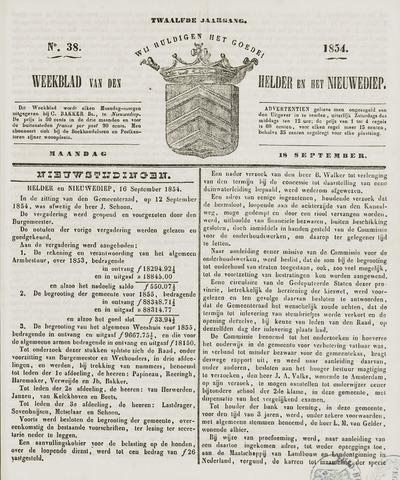 Weekblad van Den Helder en het Nieuwediep 1854-09-18