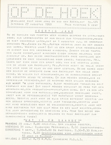 Op De Hoek, weekblad voor Akersloot 1960-08-27