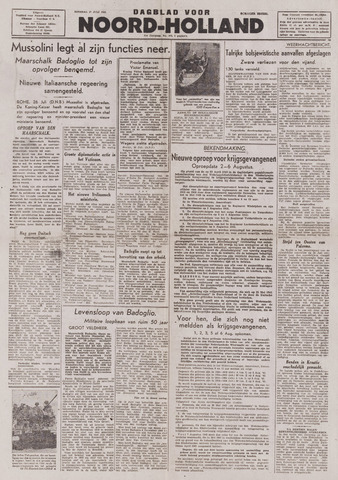 Dagblad Noord-Holland, Schager editie 1943-07-27
