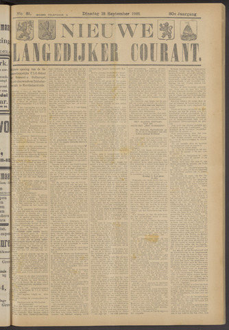 Nieuwe Langedijker Courant 1921-09-13