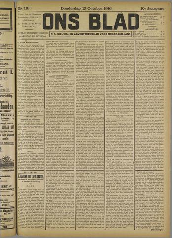 Ons Blad : katholiek nieuwsblad voor N-H 1916-10-12