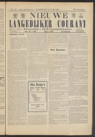 Nieuwe Langedijker Courant 1930-06-14