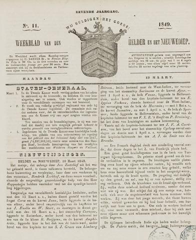 Weekblad van Den Helder en het Nieuwediep 1849-03-12