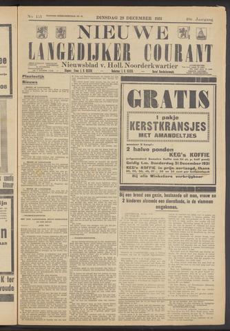 Nieuwe Langedijker Courant 1931-12-29