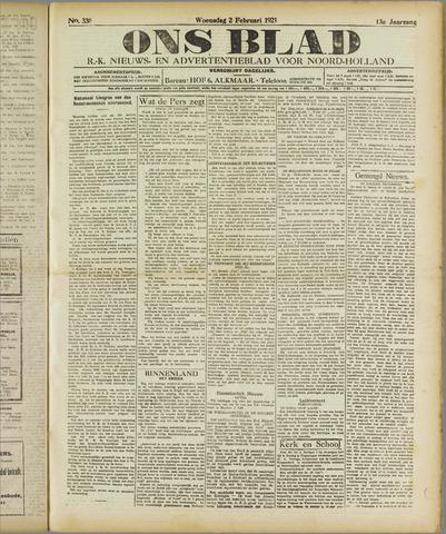 Ons Blad : katholiek nieuwsblad voor N-H 1921-02-02