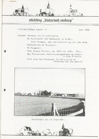 Informatieblad stichting Historisch Niedorp 1988-06-01