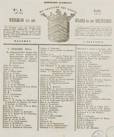 Weekblad van Den Helder en het Nieuwediep 1855-01-01
