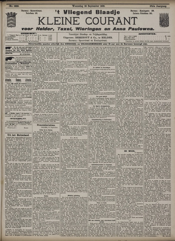 Vliegend blaadje : nieuws- en advertentiebode voor Den Helder 1909-09-22