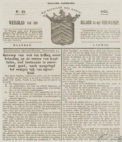 Weekblad van Den Helder en het Nieuwediep 1851-04-07